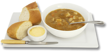 Soup and bread meal