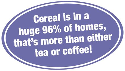 Cereal is in a huge 96% of homes, that's more than either tea or coffee!