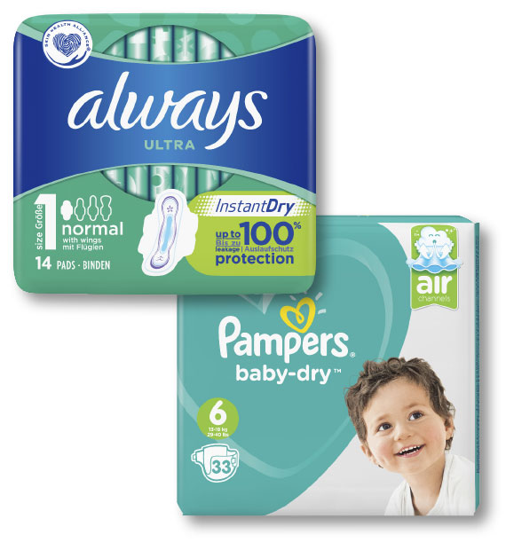 Always and Pampers products