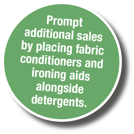 Prompt additional sales by placing fabric conditioners and ironing aids alongside detergents.