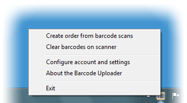 Barcode Uploader context menu