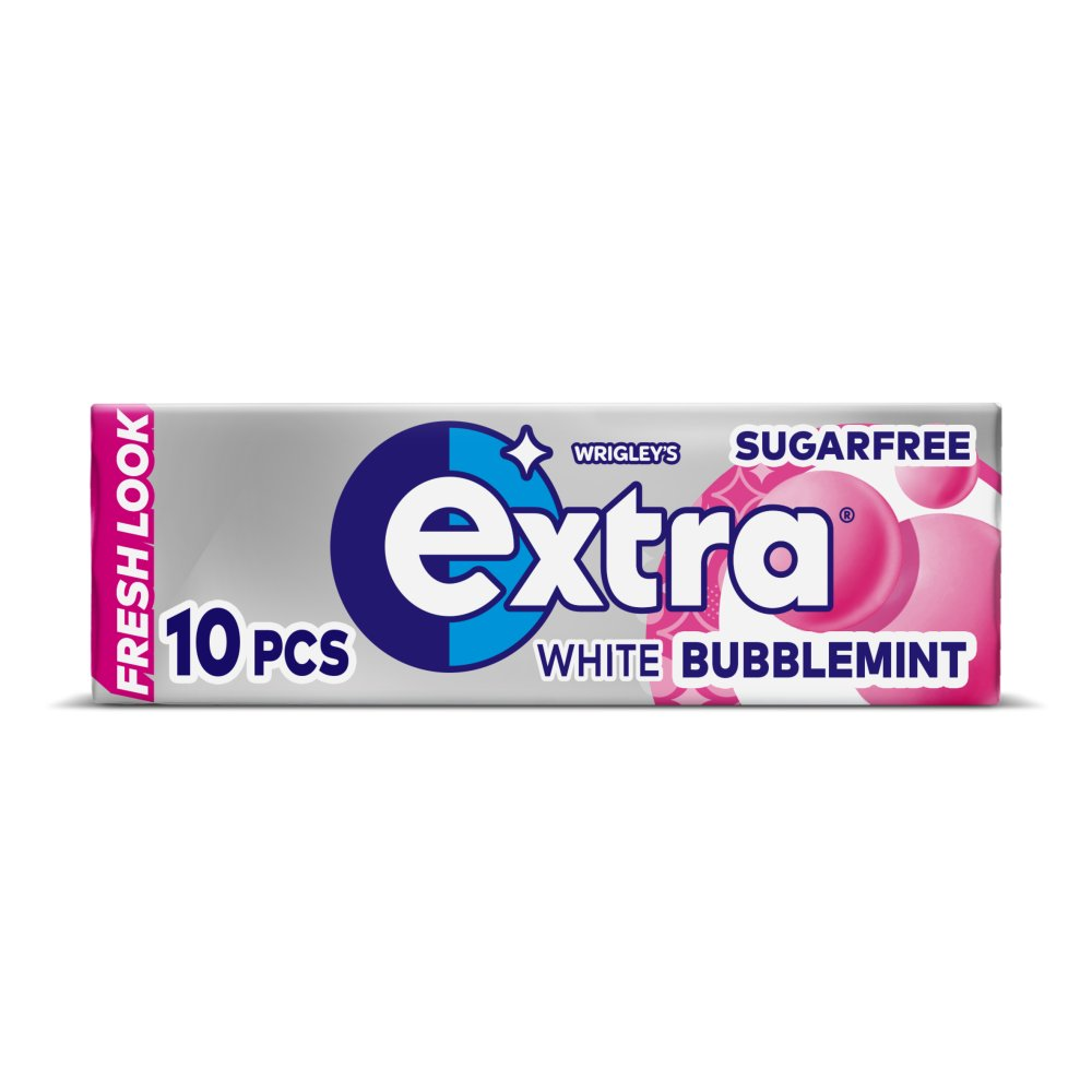 Extra White Bubblemint Chewing Gum Sugar Free 10 Pieces