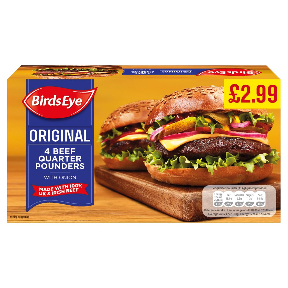 Birds Eye Beef Quarter Pounders £2.99