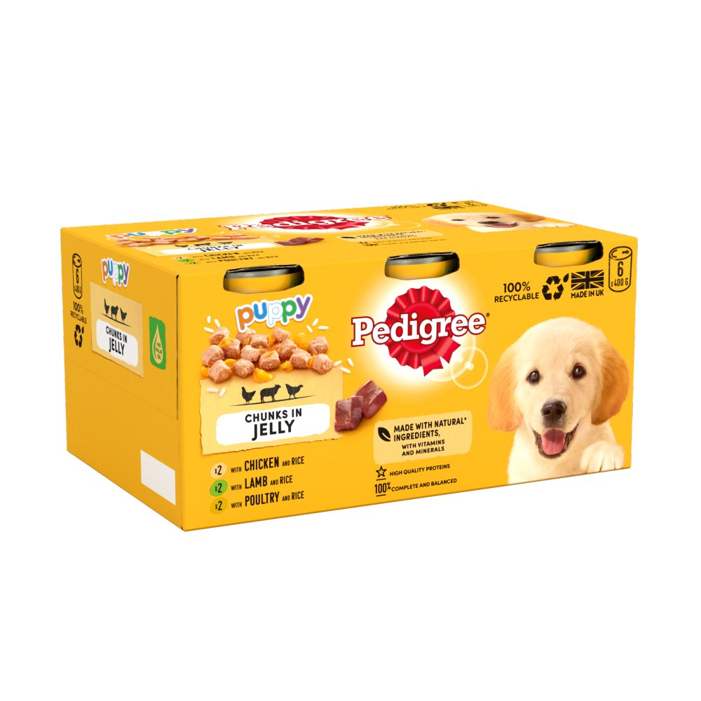 Pedigree Puppy Wet Dog Food Tins Mixed Selection in Jelly 6 x 400g
