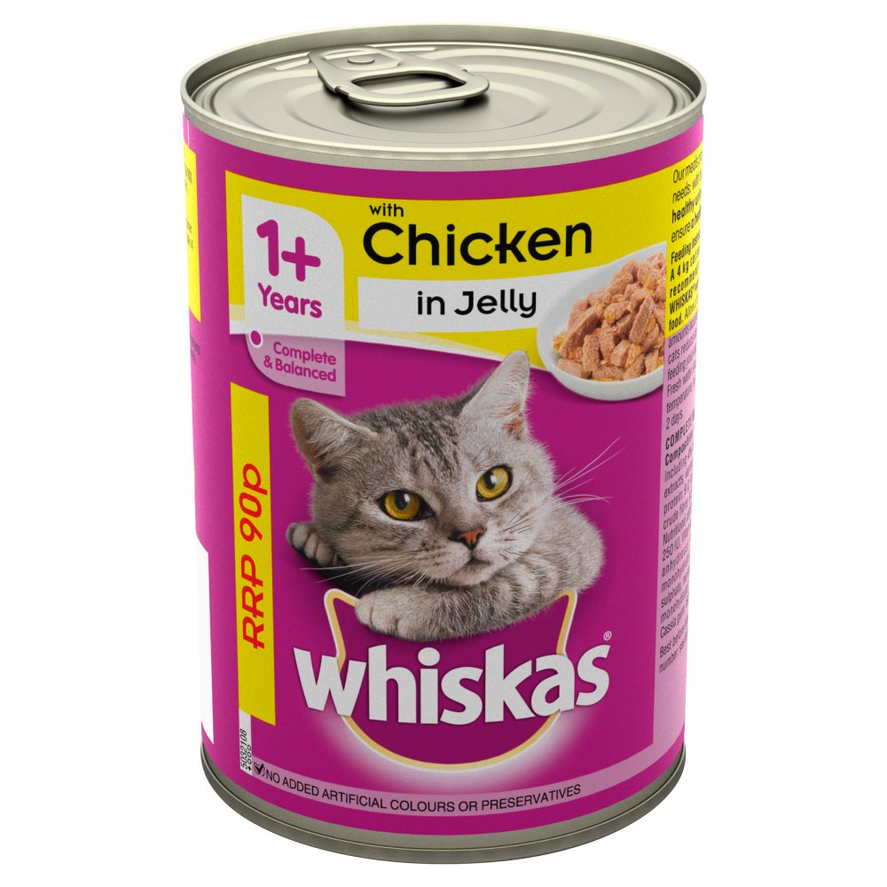 Whiskas Adult 1+ Wet Cat Food Tin with Chicken in Jelly 390g (PMP 90p)