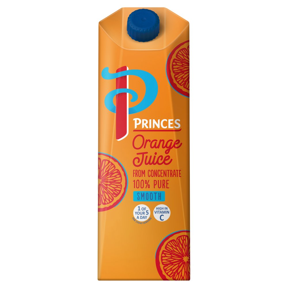 Princes 100% Pure Smooth Orange Juice from Concentrate 1 Litre