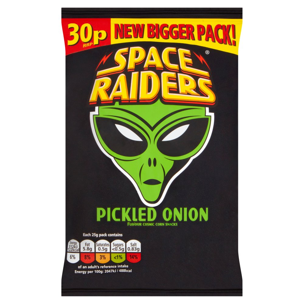 Space Raiders Pickled Onion Flavour Cosmic Corn Snacks 25g