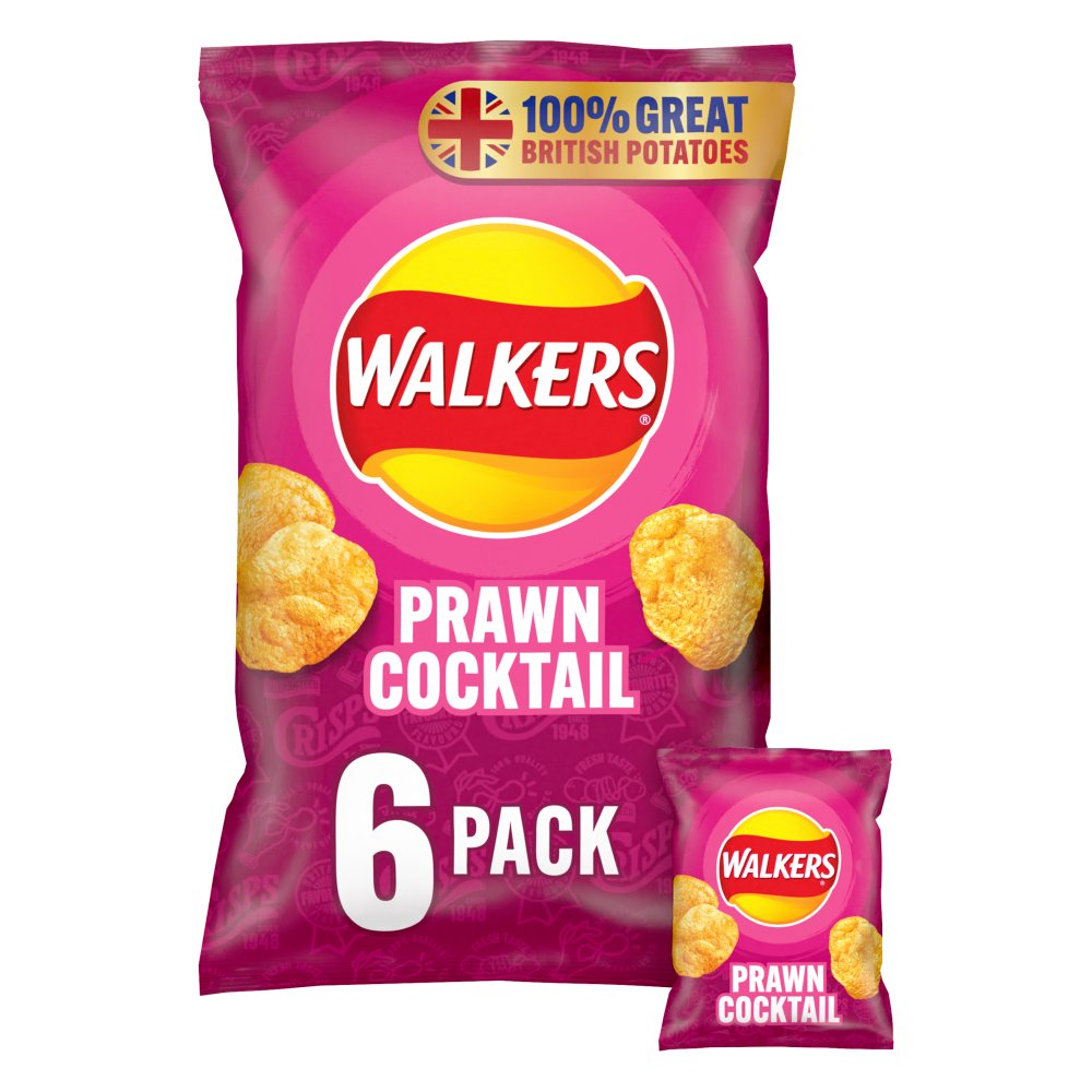 Walkers Prawn Cocktail Crisps 6x25g