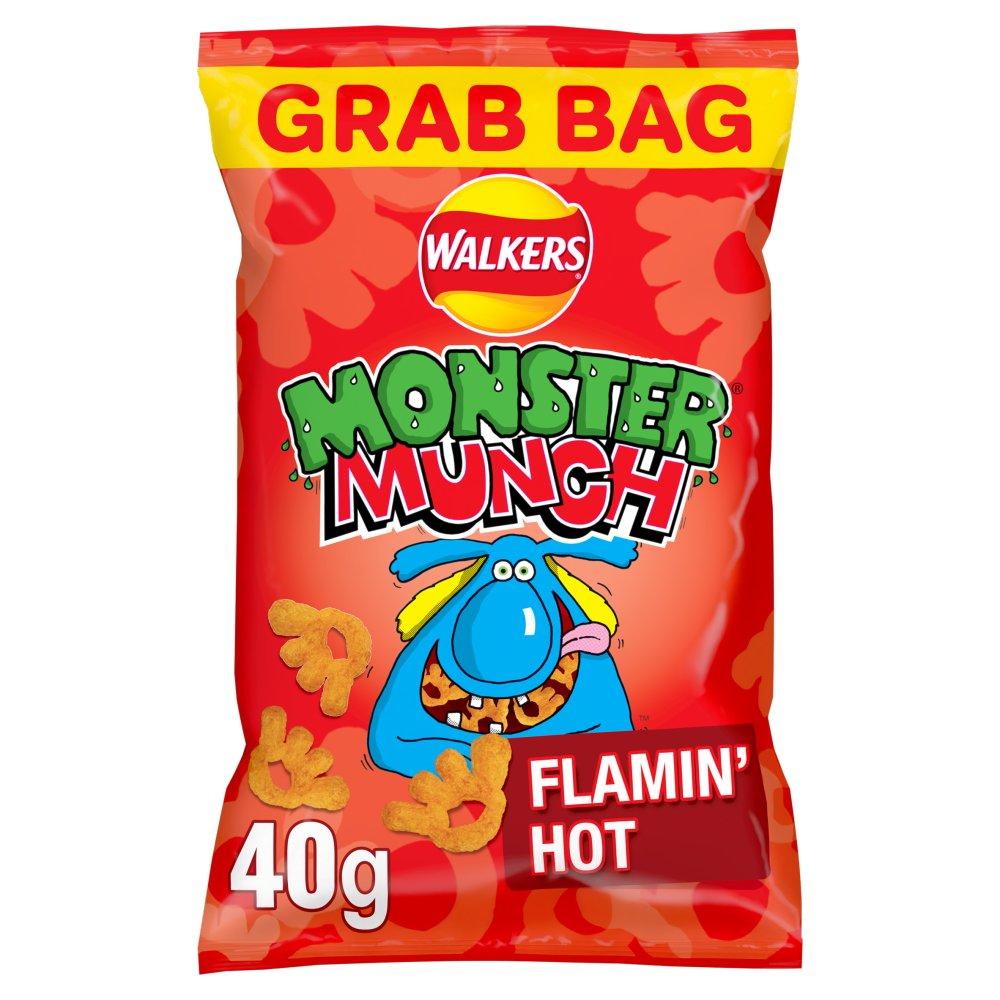 Mega Monster Munch Flamin' Hot Snacks 40g