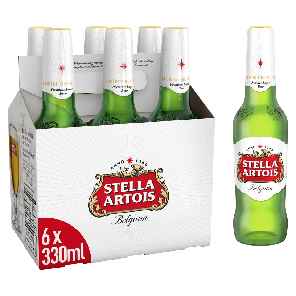 Stella Artois Lager Beer Bottles 6 x 330ml