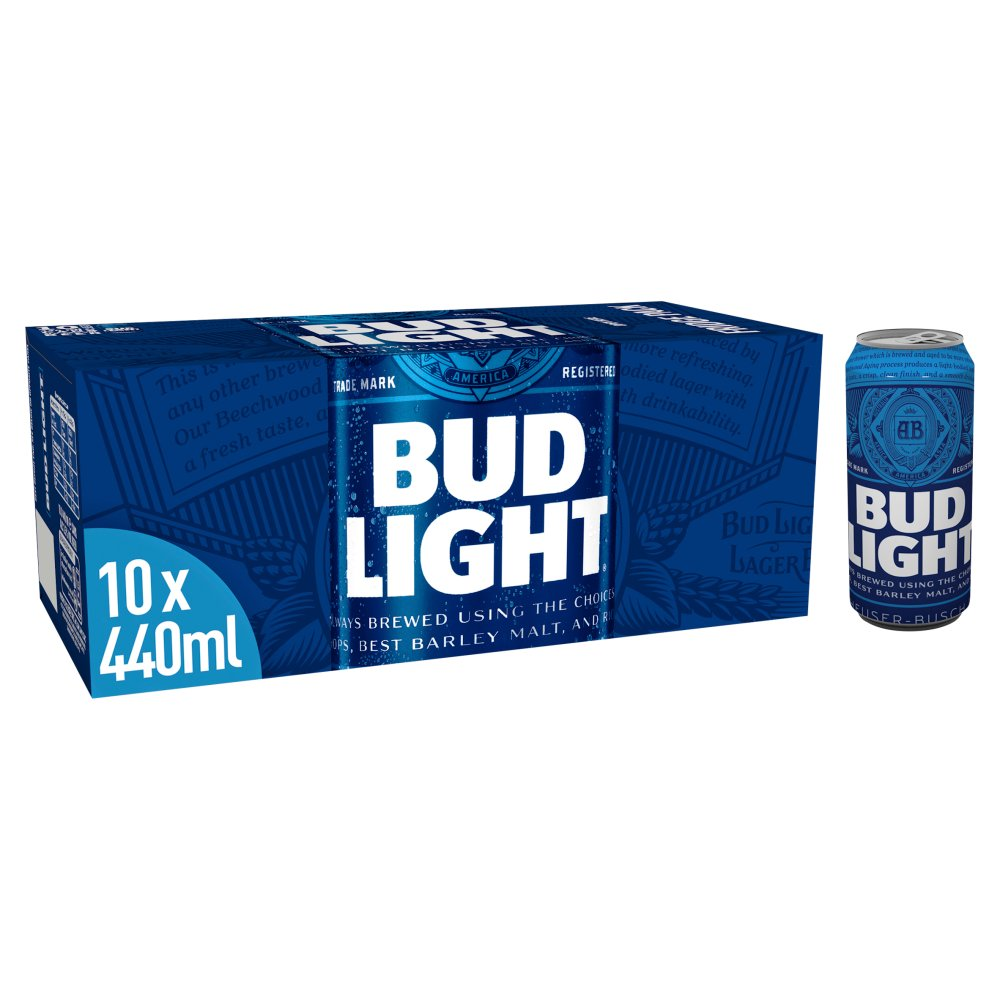 Bud Light Lager Beer Cans 10 x 440ml