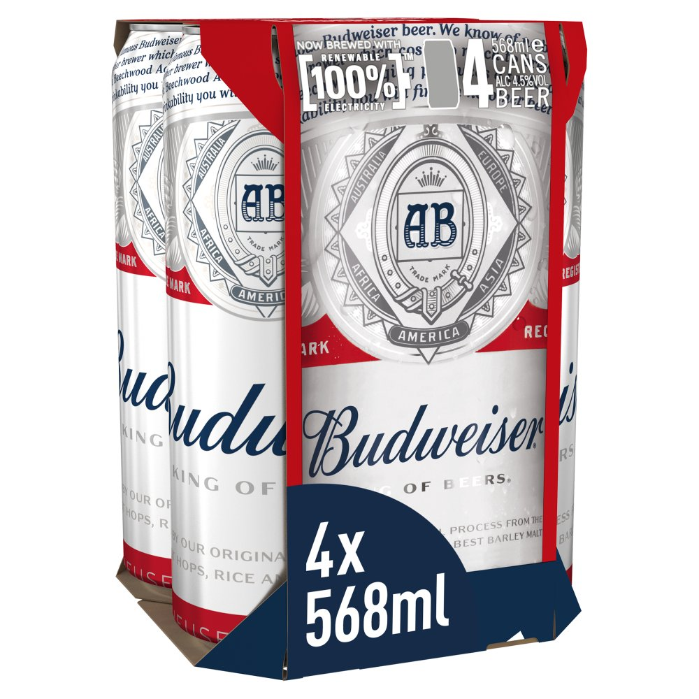 Budweiser Lager Beer Cans 4 x 568ml