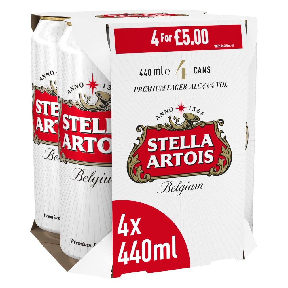 Stella Artois Belgium Premium Lager Beer Cans 4 x 440ml £5