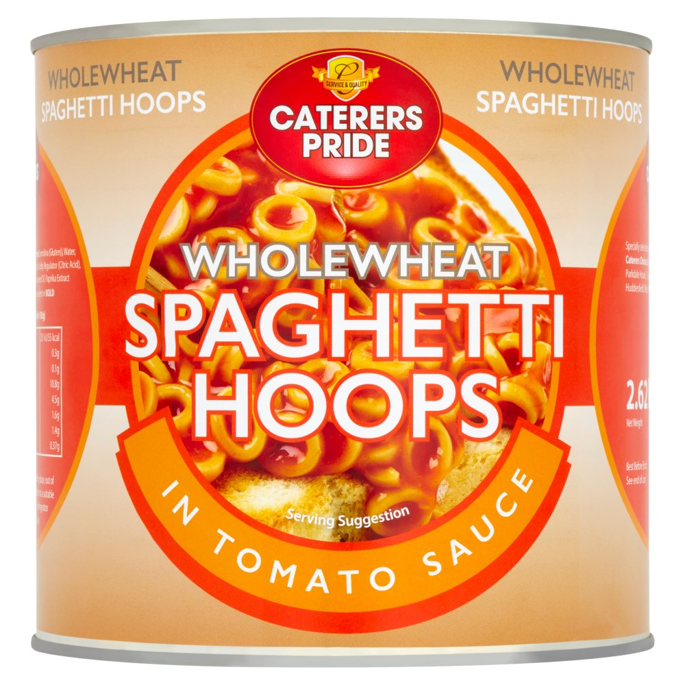 Caterers Pride Wholewheat Spaghetti Hoops in Tomato Sauce 2.62kg