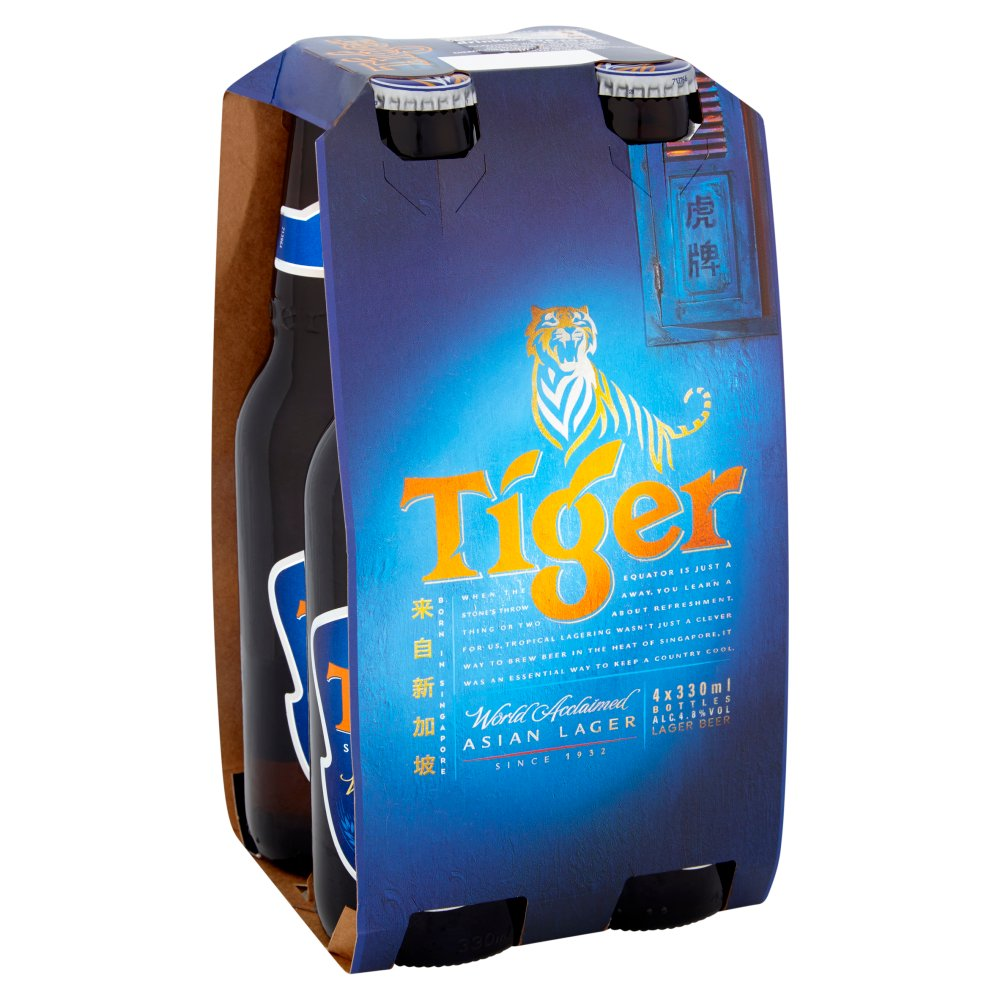 Tiger Beer 4pack Non Returnable Bottle 4.8percent