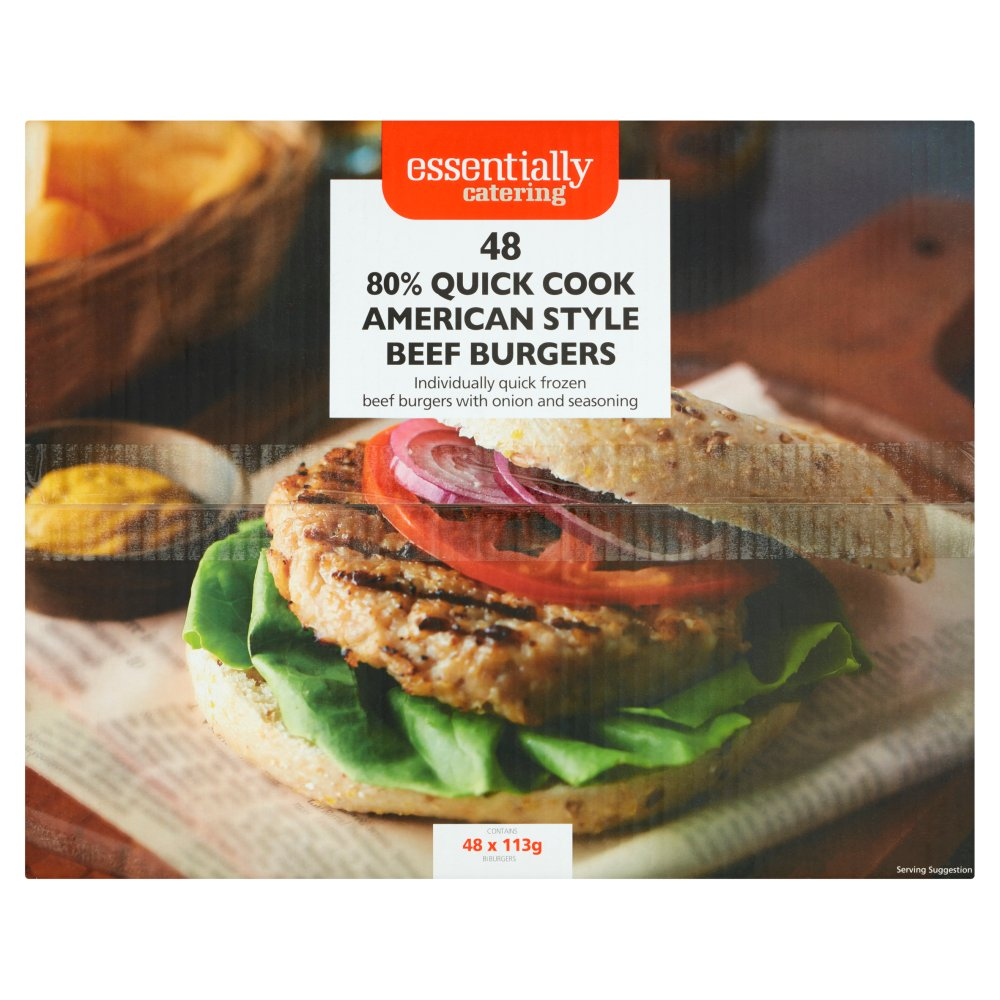 Essentially Catering 80% Quick Cook American Style Beef Burgers 48 x 113g (5.42kg)