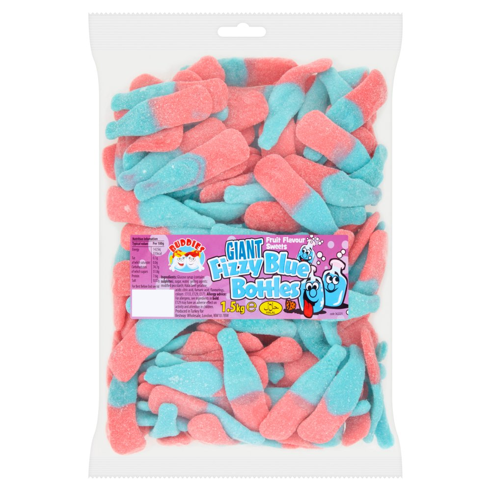 Buddies Giant Fizzy Blue Bottles Fruit Flavour Sweets 1.5kg