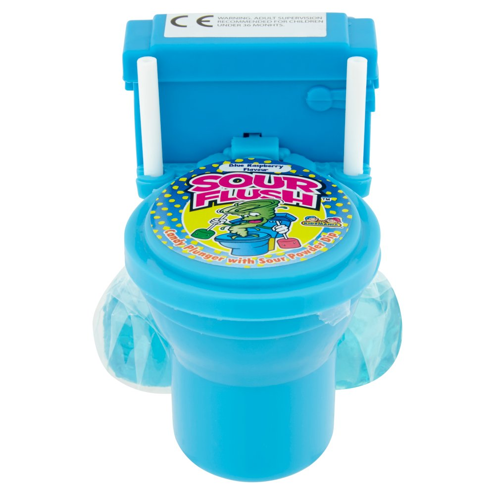 Sour Flush Candy Plunger with Sour Powder Dip Blue Raspberry Flavour 39g