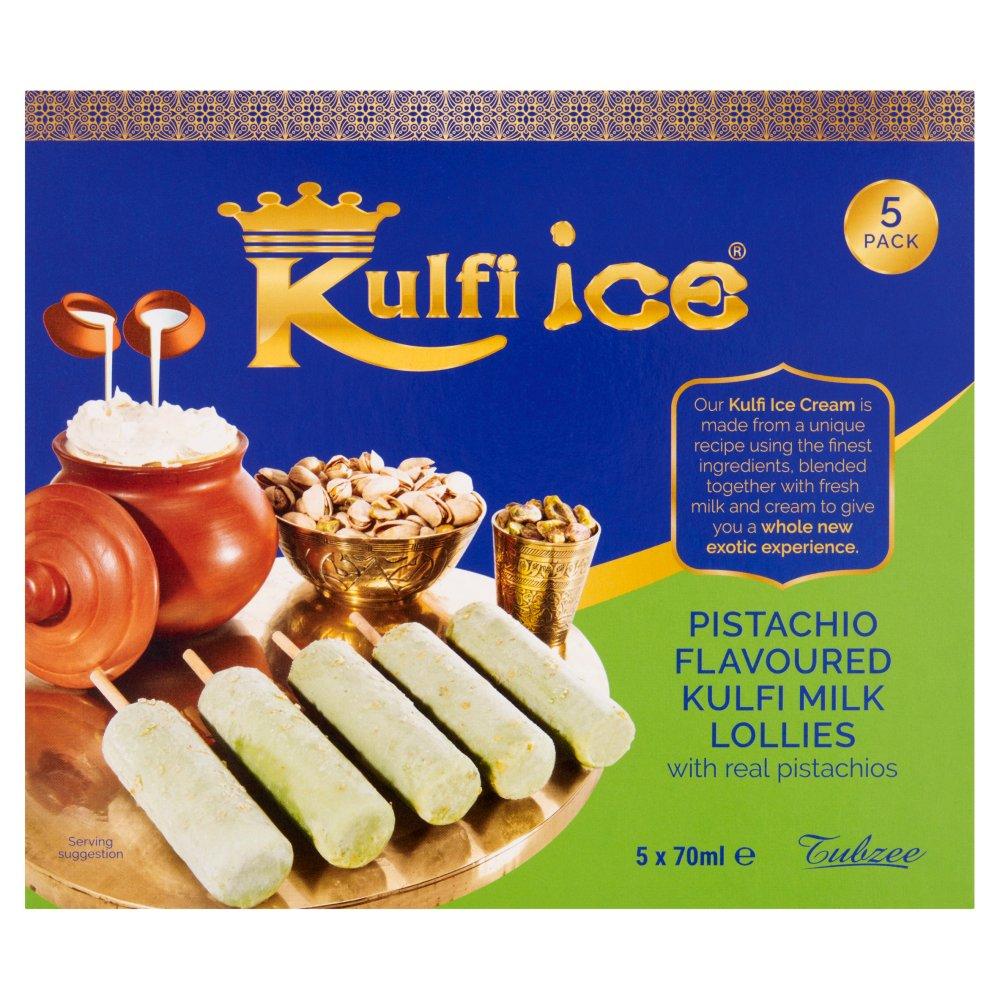 Kulfi Ice Pistachio Flavoured Kulfi Milk Ice Lollies with Real Pistachios 5 x 70ml