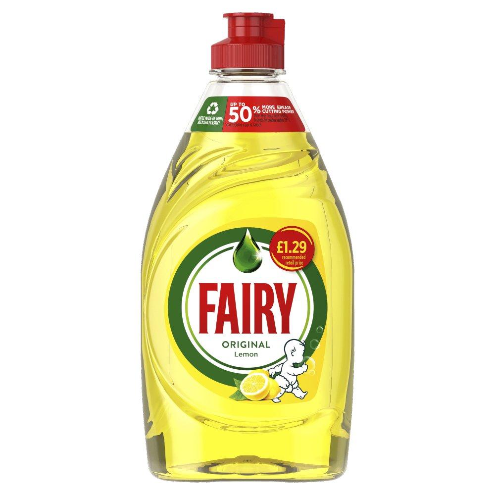 Fairy Original Washing Up Liquid Lemon with LiftAction. No Soaking, No Grease, No Fuss 433ML