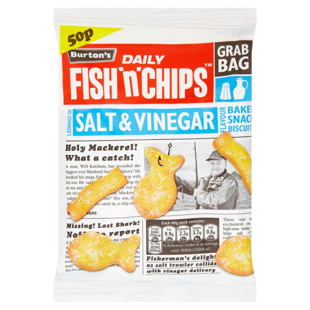 Burtons Fish & Chips Salt & Vinegar Grab Bag 50p