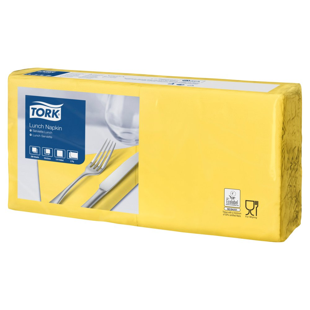 Tork Lunch Napkin Yellow 4Fold 32cm 2ply