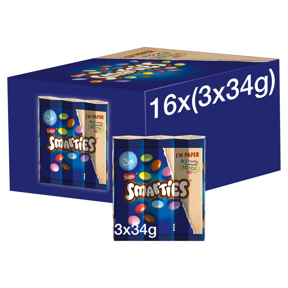 Smarties Milk Chocolate Tube Multipack 3 Pack (3 x 34g)
