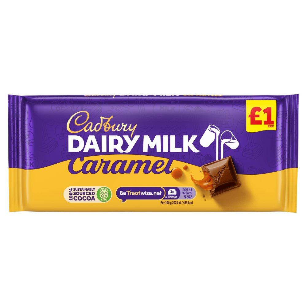 Cadbury Dairy Milk Caramel £1 Chocolate Bar 120g