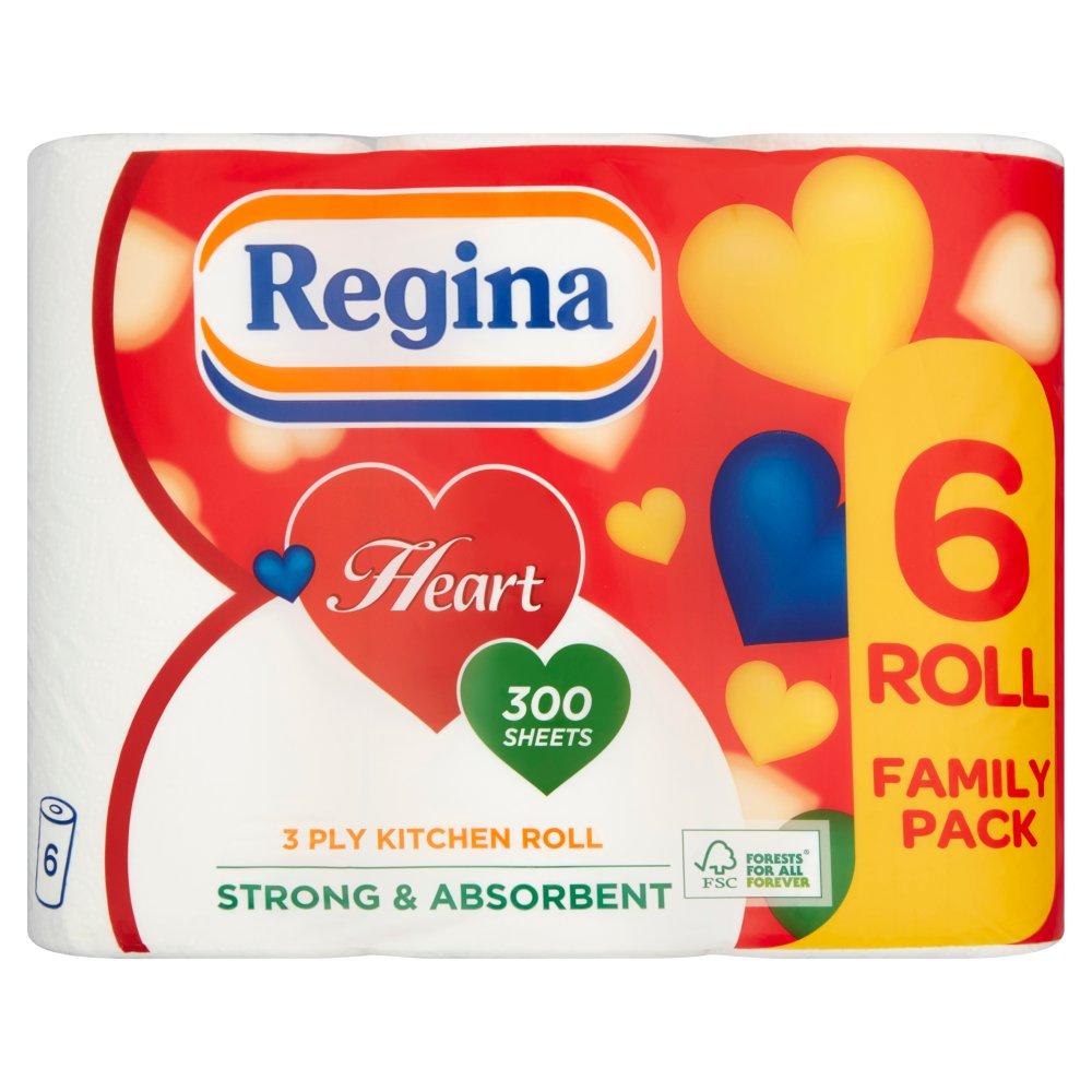 Regina Heart 3 Ply 6 Kitchen Roll