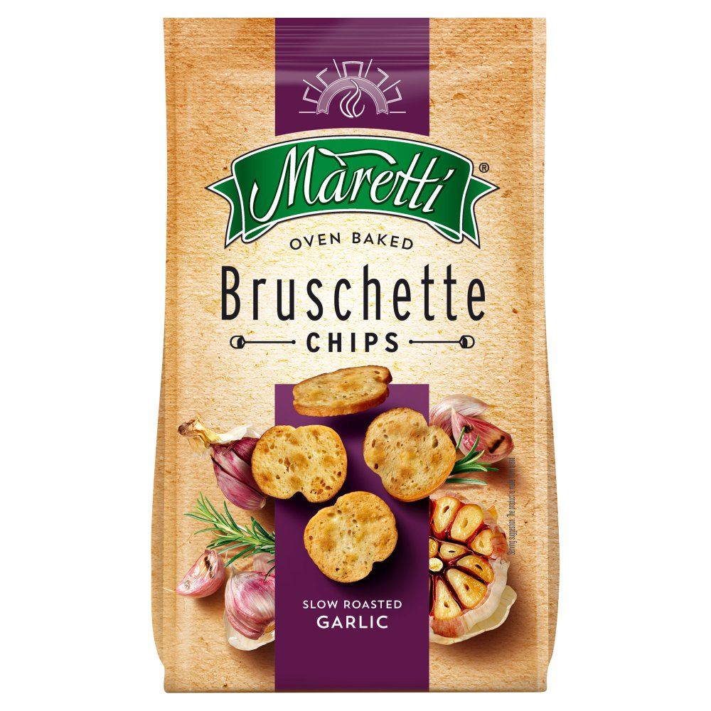 Maretti Oven Baked Bruschette Chips Slow Roasted Garlic 70g
