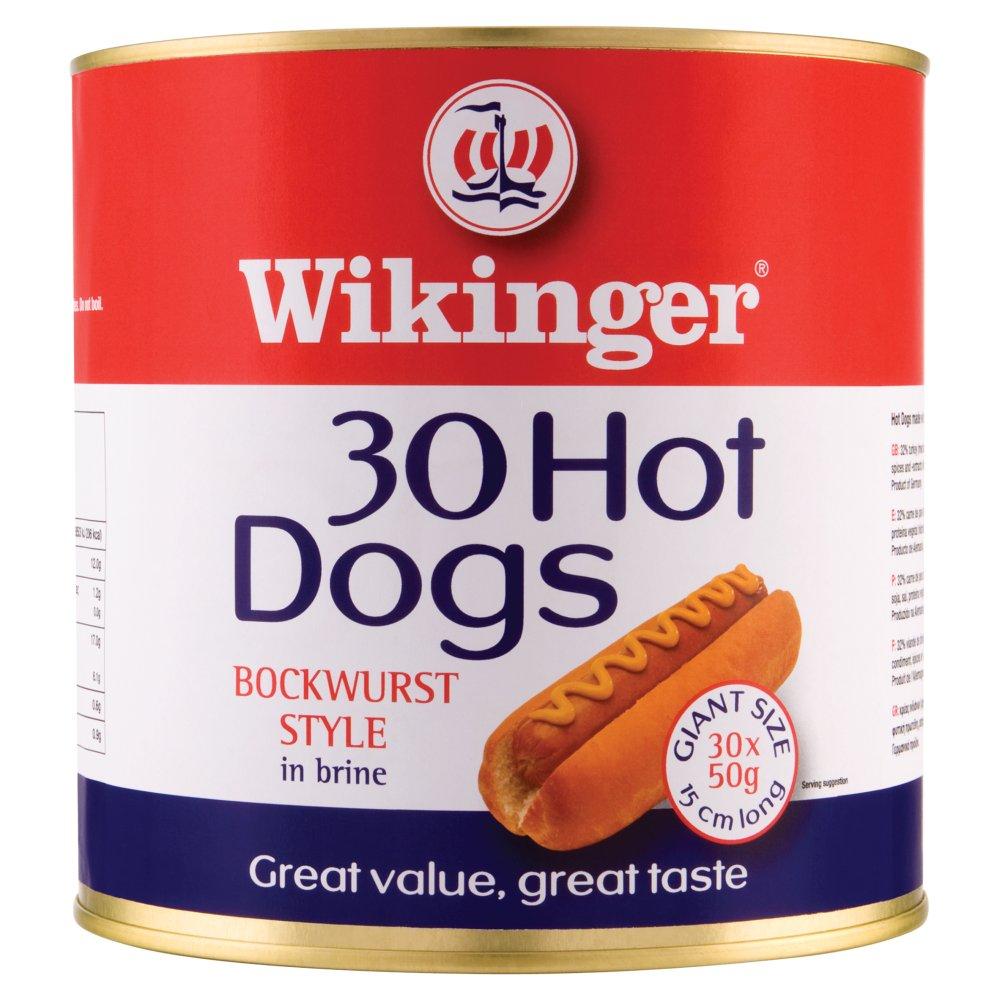Wikinger 30 Hot Dogs Beechwood Smoked Bockwurst Style in Brine 3000g