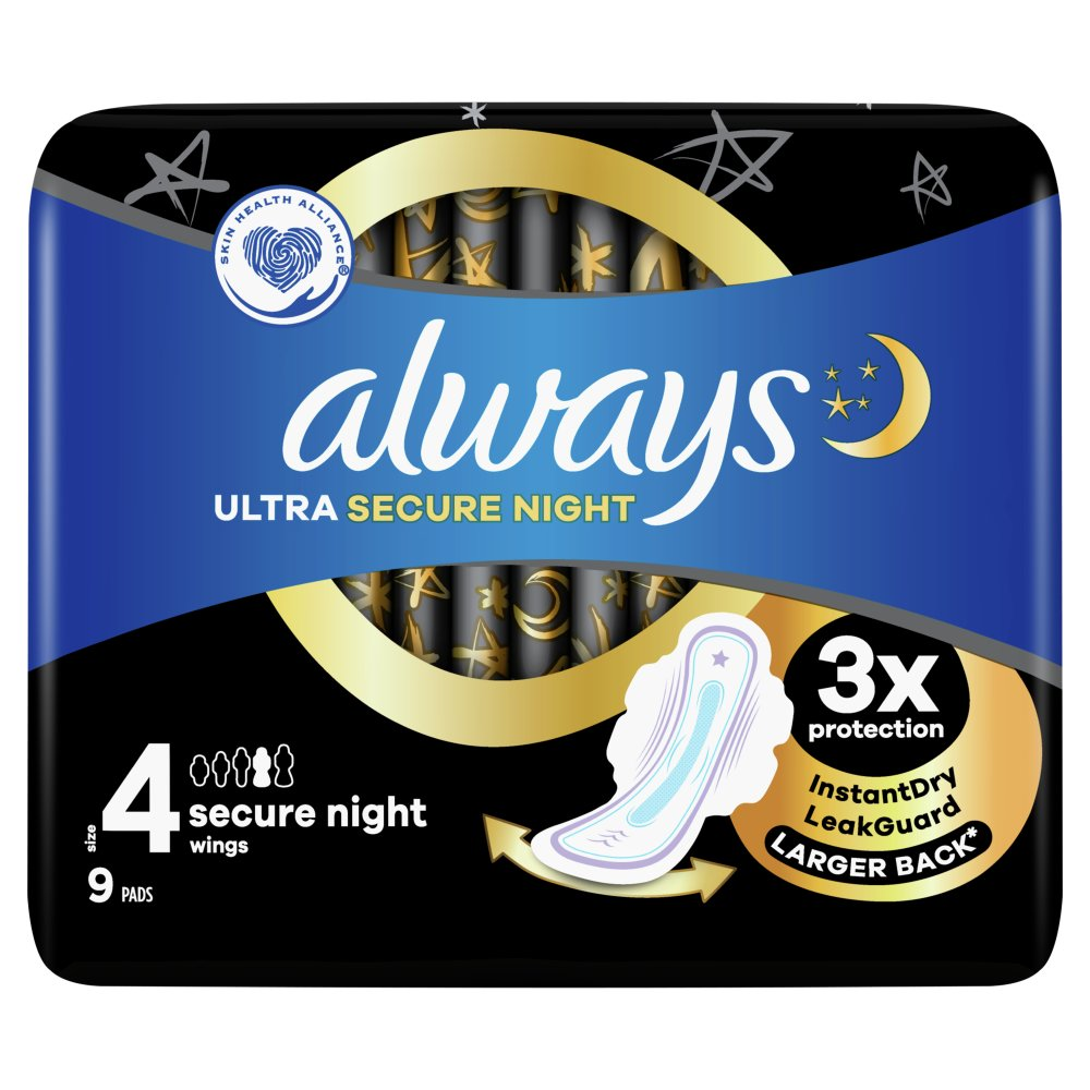 Always Ultra Secure Night (Size 4) Sanitary Towels Wings 9 Pads