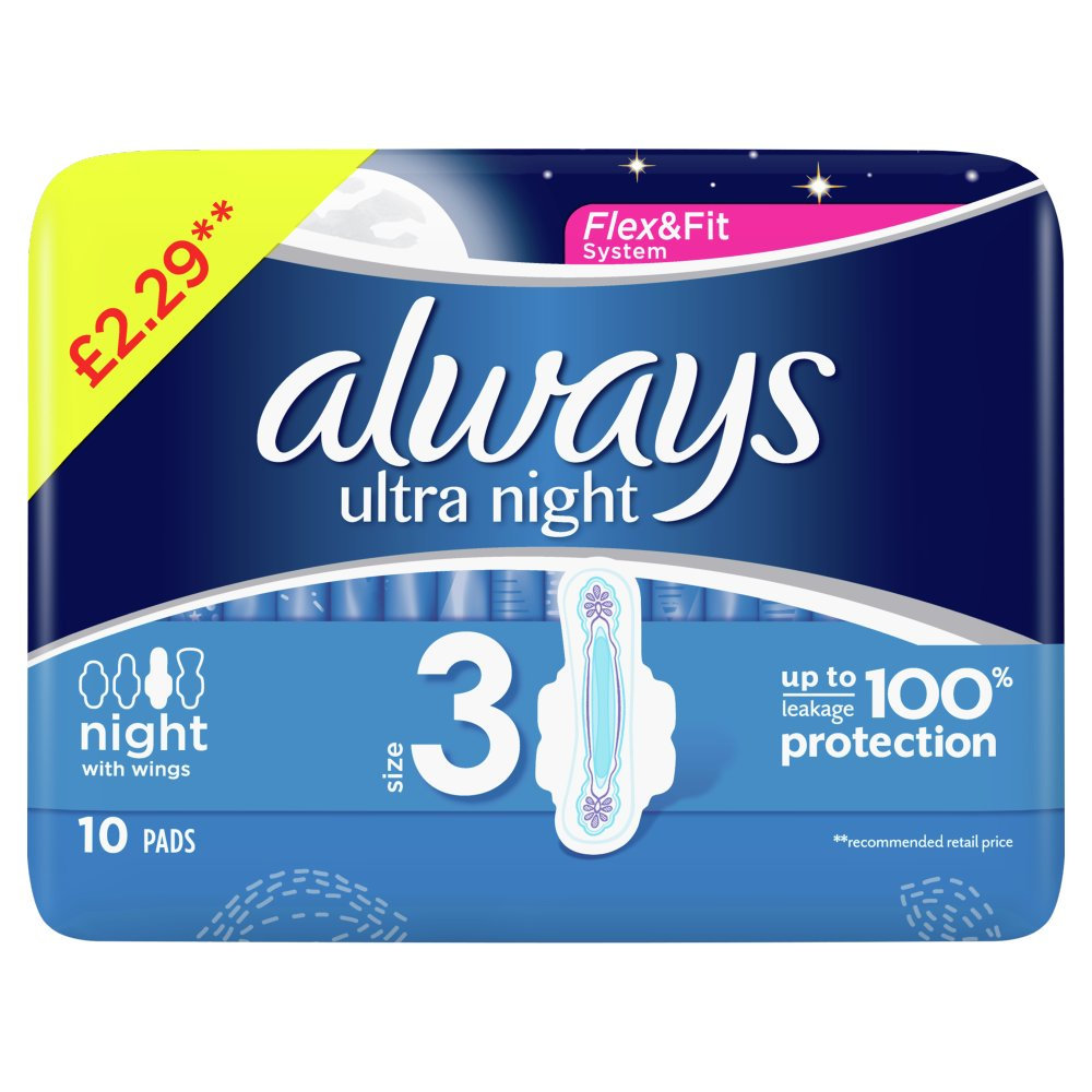 Always Ultra Night (Size 3) Sanitary Towels Wings 10 Pads