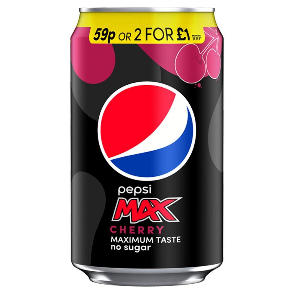 Pepsi Max Cherry No Sugar Cola Can PMP 330ml