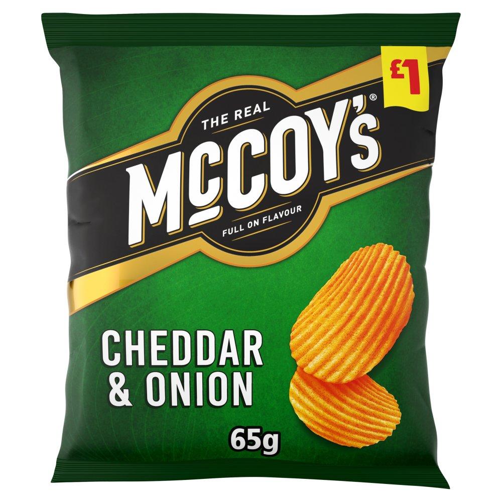 McCoy's Cheddar & Onion Flavour Ridge Cut Potato Crisps 65g