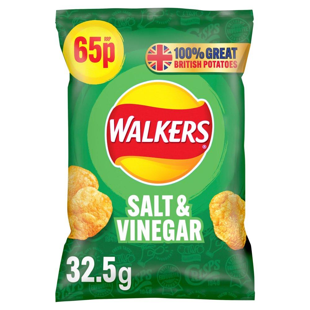 Walkers Salt & Vinegar Crisps 65p PMP 32.5g