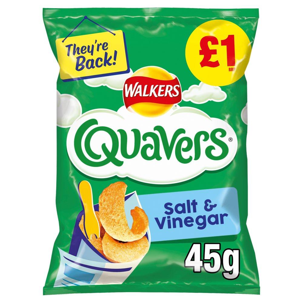 Walkers Quavers Salt & Vinegar Snacks £1 RRP PMP 45g