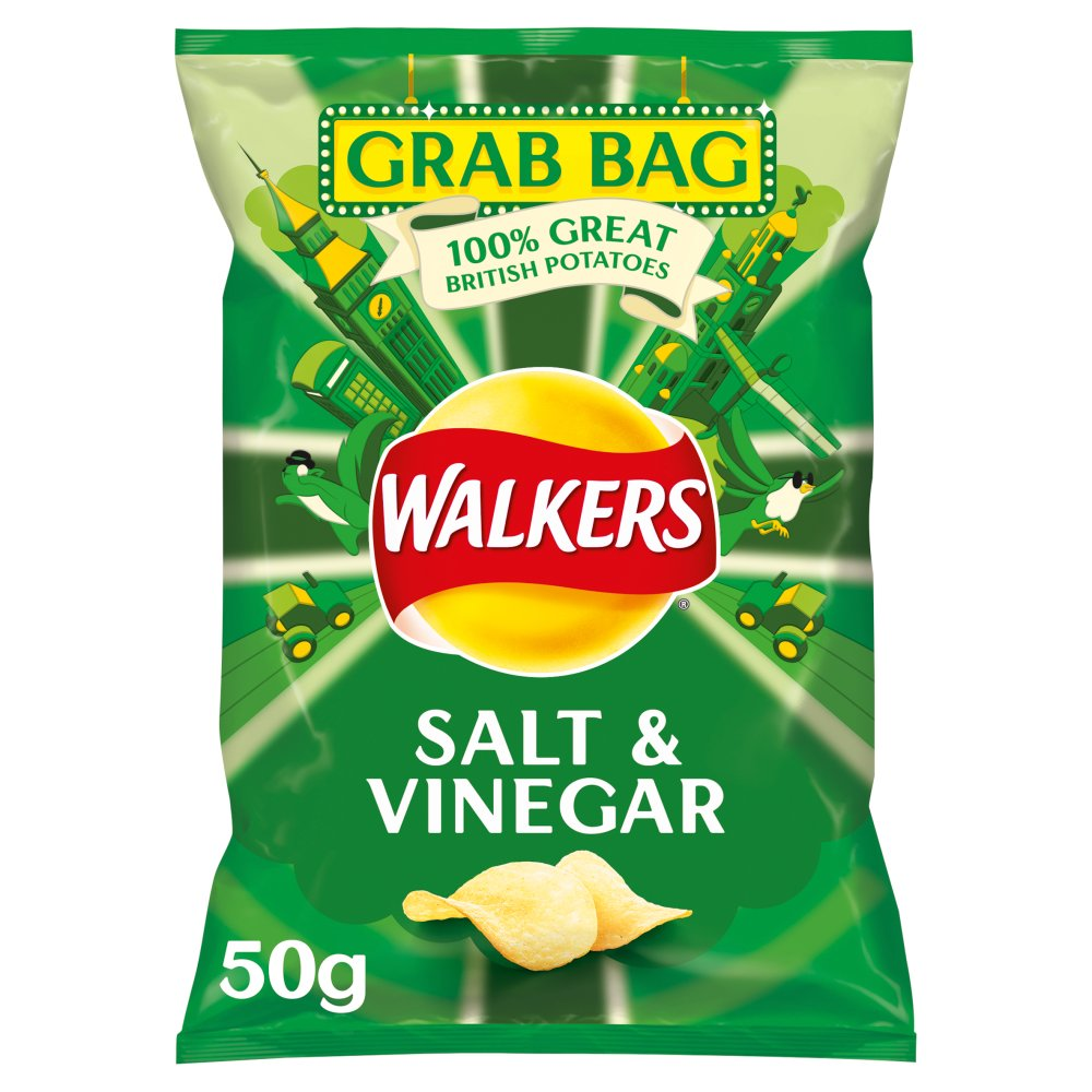 Walkers Salt & Vinegar Grab Bag Crisps 50g