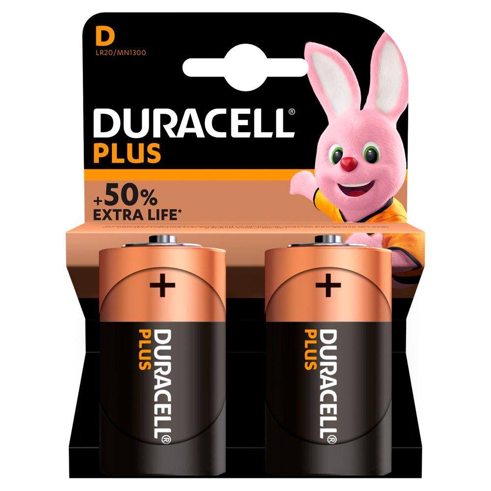 Duracell Plus Power Alkaline D Batteries, Pack of 2