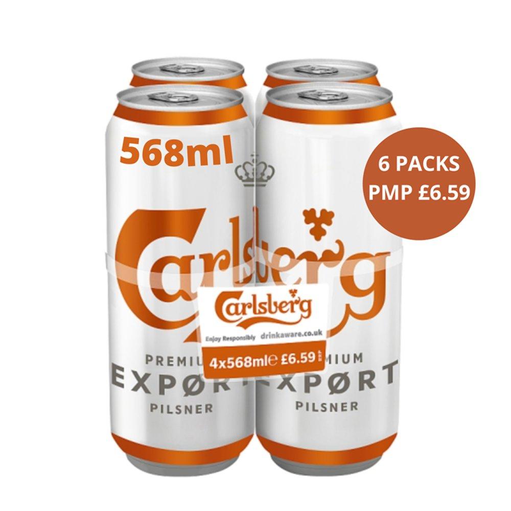 Carlsberg Export Lager Beer 4 x 568ml PMP £6.59