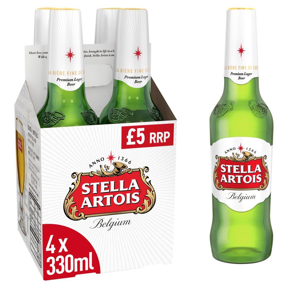 Stella Artois Lager Beer Bottles 4 x 330ml