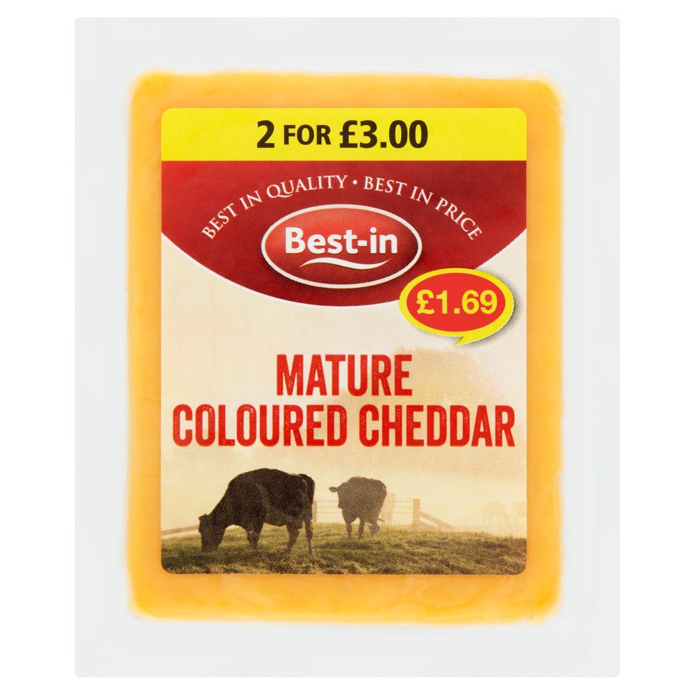 Best In Mature Coloured Cheddar £1.69 2 For £3