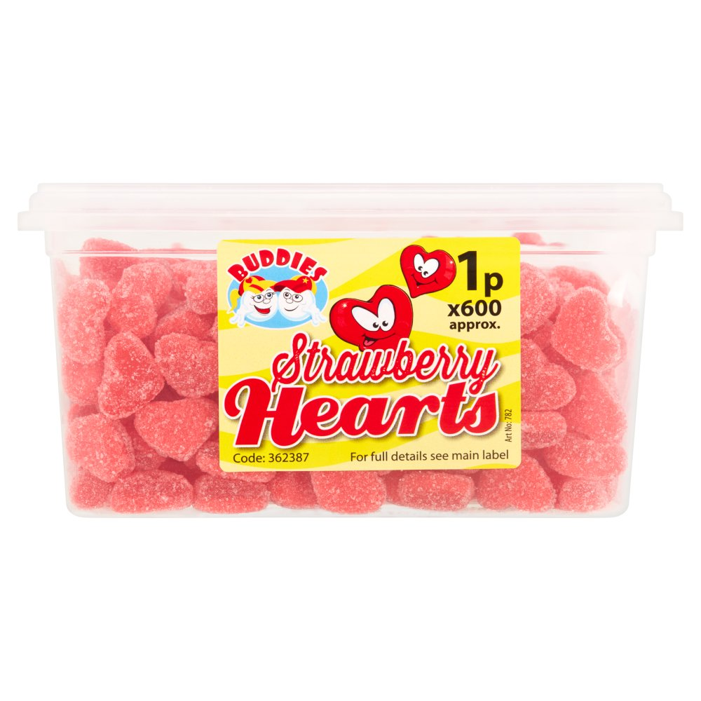 Buddies Strawberry Hearts Fruit Flavour Sweets