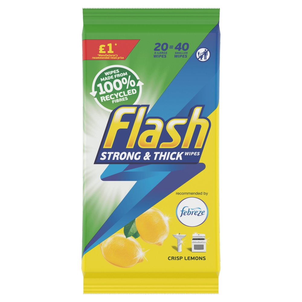 Flash Wipes Made of 100% Recycled Fibers Lemon 20 Count (20 Large Wipes)