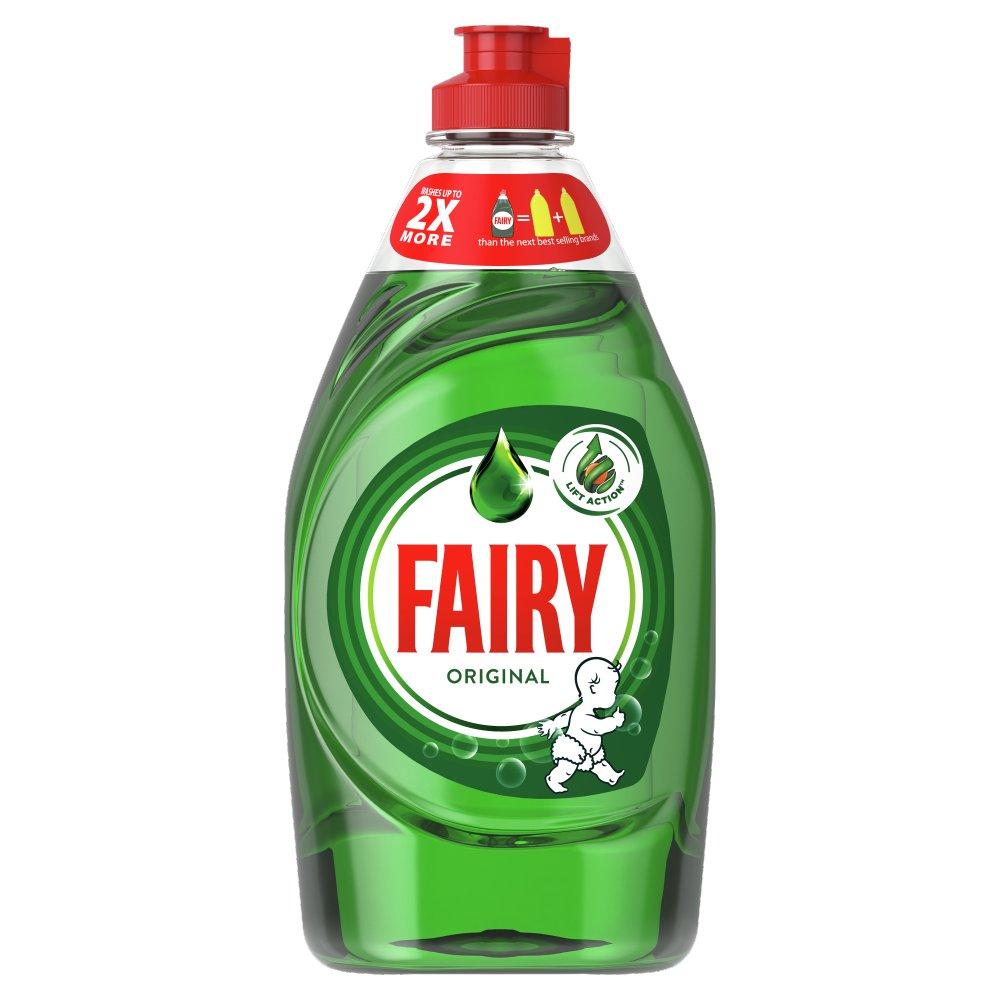 Fairy Original Washing Up Liquid Green with LiftAction. No Soaking, No Grease, No Fuss 433 ML