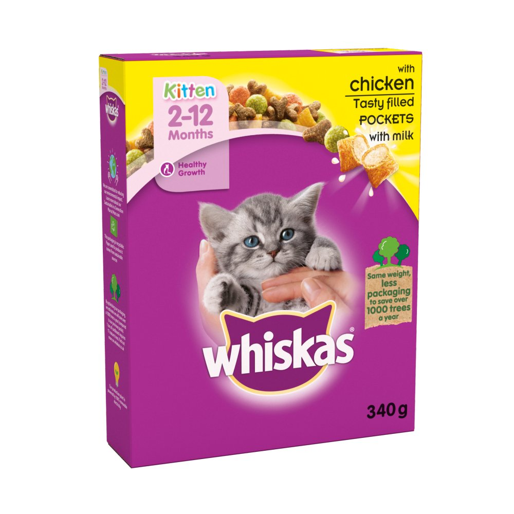 Whiskas Complete 2-12 Months Kitten Dry Cat Food with Chicken 340g
