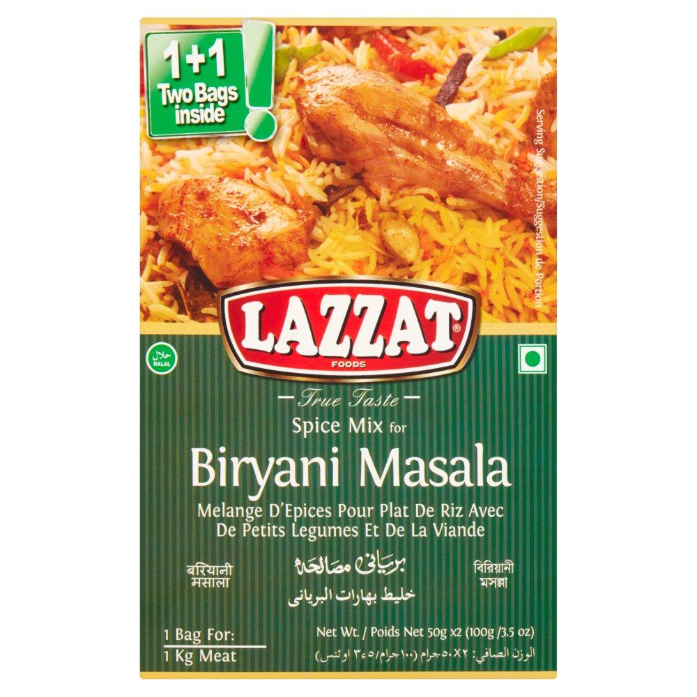 Lazzat Foods True Taste Spice Mix for Biryani Masala 2 x 50g (100g)