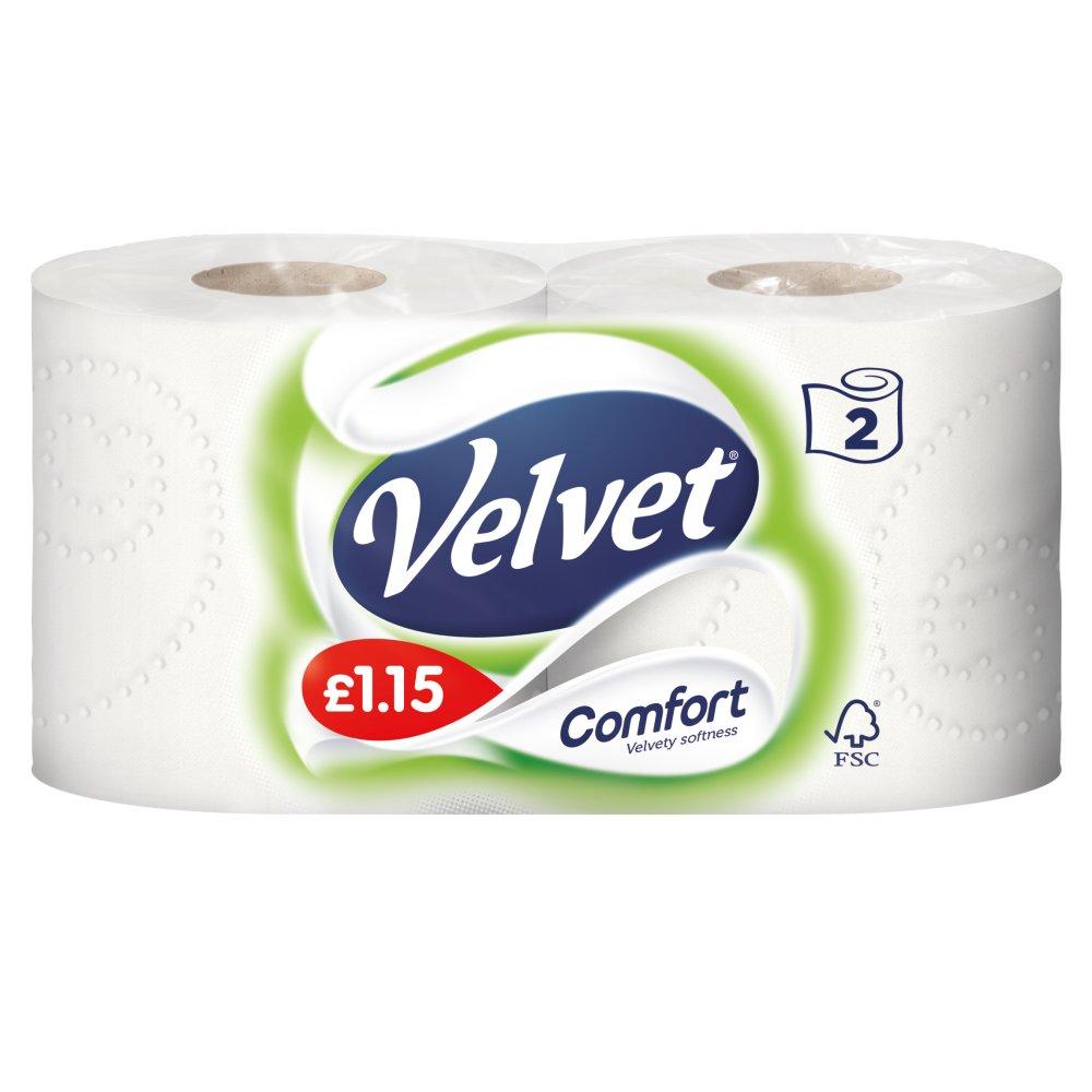 Velvet Comfort 2 White Toilet Rolls PMP :: Bestway Wholesale