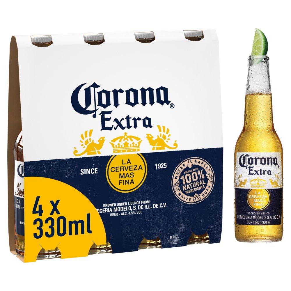 Corona Extra Premium Lager Beer Bottles 4 x 330ml :: Bestway Wholesale