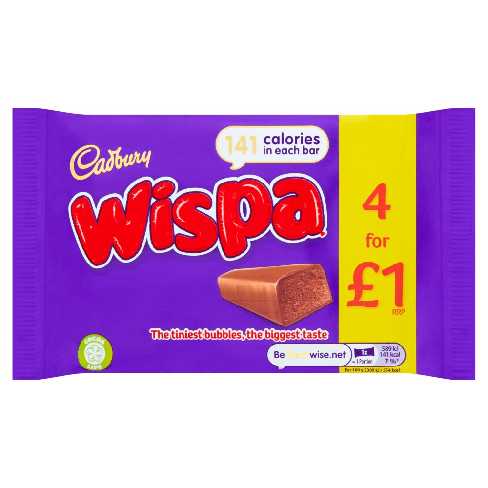 Cadbury Wispa £1 Chocolate Bar 4 Pack 102g